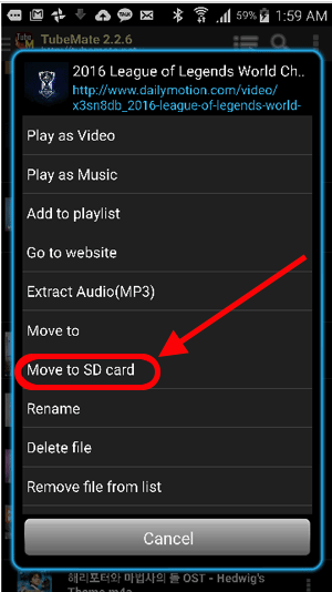 Tubemate - how to move file to sdcard